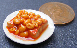 1-12-Scale-2-5cm-Plate-Of-Spaghetti-Hoops-On-Toast-Dolls-House-Food-Accessory