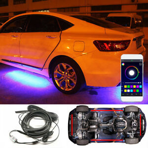 Details About 4 Rgb Led Under Cars Strip Underglow Body Neon Light Kit Phone Control