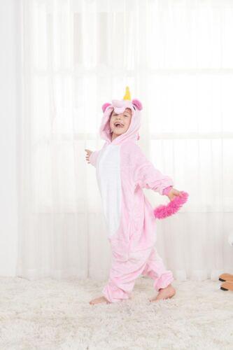 Kids rainbow Unicorn Kigurumi Animal Cosplay Costume  Pajamas Sleepwear UK