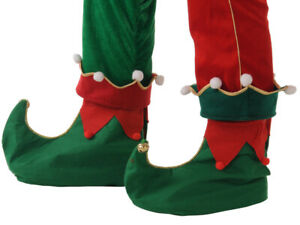 GREEN-amp-RED-CHRISTMAS-ELF-OVERSHOE-SHOE-COVERS-WITH-BELLS