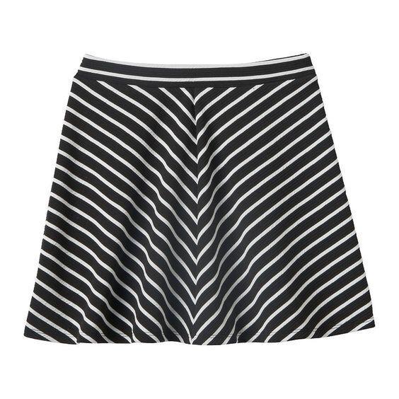 NWT Girls JOEY B Textured Knit A-line Skater Skirt Black White Size M 10 10/12