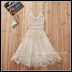 a82287f5a6 Details about FREE GIFT ~ VTG BOHO FLORAL CROCHET LACE PRINT BEACH WEDDING  DREAMY TOP DRESS