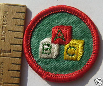 Girl Scout Junior TENDING TODDLERS BADGE Babysitting ABC Blocks Patch 1980-91