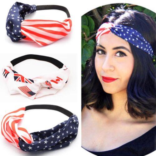 Fashion Women American Flag Sports Yoga Sweatband Gym Stretch Headband Hair Band