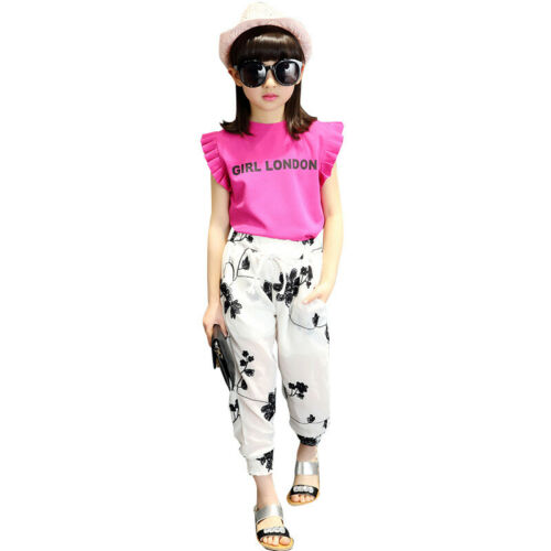 Girls Clothes Sets Kids Fashion Chiffon Tops Pants Children Summer Suit Outfits