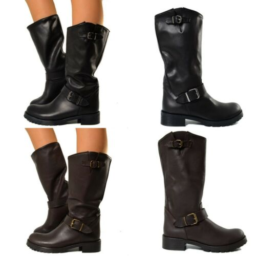 In Boots Camperos Italy Cuir Cuissard F381 Femmes Biker Bottes Made qTxw6XFxSp