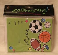 Zoomerang Sports 8 Count Party Invitation & Envelope Pack