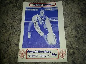 Signed-Terry-Crook-Benefit-Brochure-1977-Rugby-League-Wakefield-Trinity-New