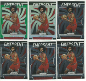 6-Card-Lot-2019-20-Coby-White-Panini-Prizm-Emergent-Silver-Green-ROOKIE-1