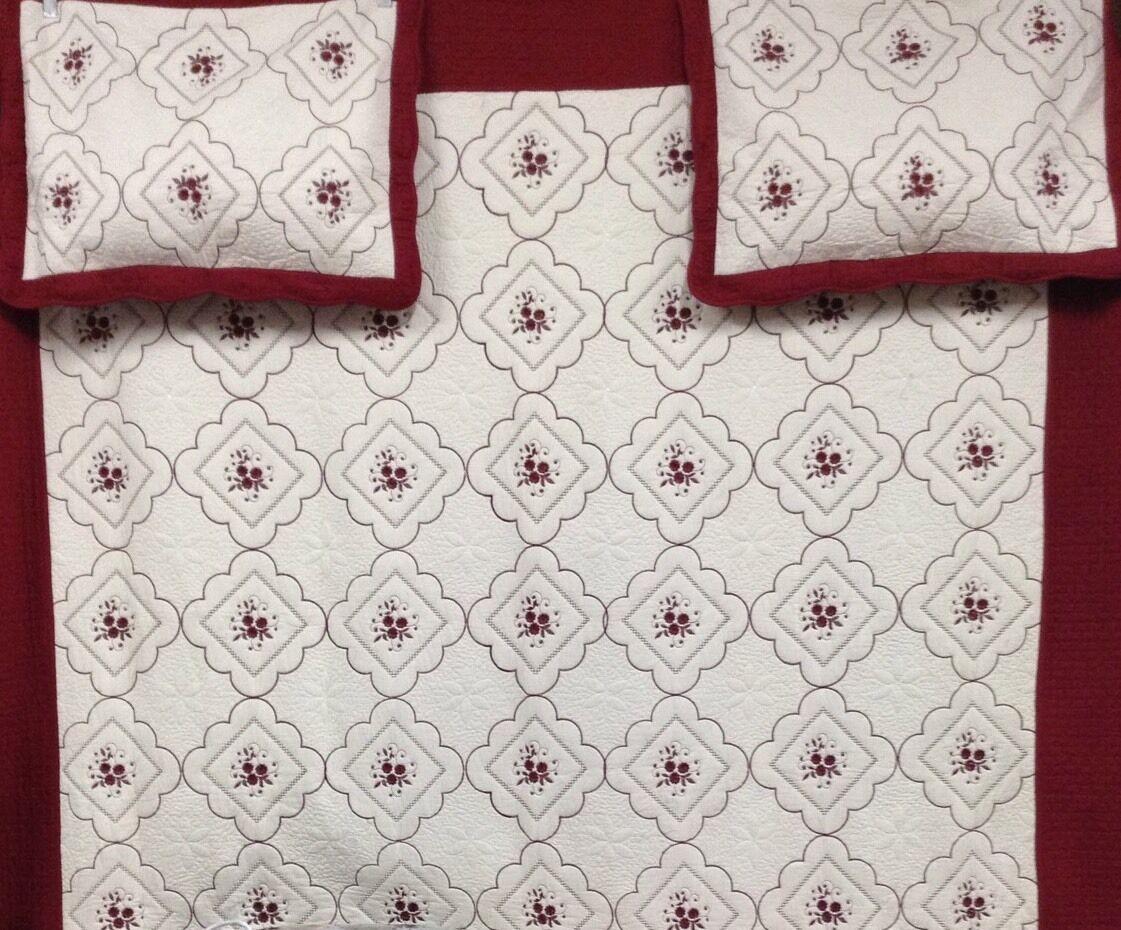 Beige Burgundy 100% Cotton King 3pcs Embroidery Quilt w 2 Pillow Shams Bedspread