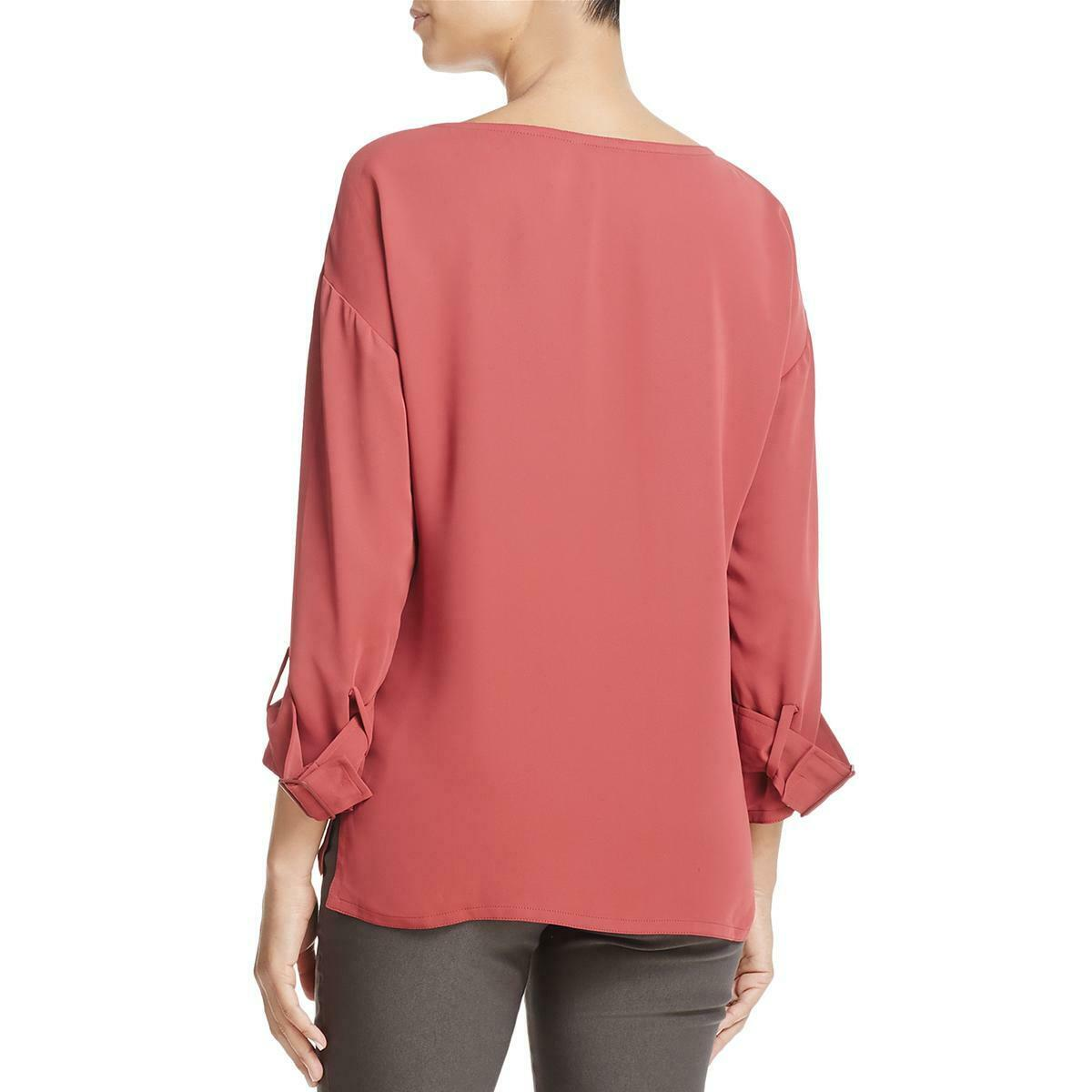 Zoe Womens Red Boatneck Everyday Tunic Blouse Top S BHFO 0115 Nic