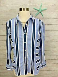 Tommy Hilfiger Women's Blue Stripe Button Down Long Sleeve Shirt Blouse Sz 10