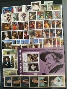 Worldwide-Art-Stamp-Collection-MNH-15-Full-Sets-from-15-Different-Countries
