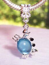 Pale Blue Gemstone March Birthstone Crab Dangle Bead for European Charm Bracelet