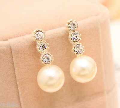 New Fashion Elegant 1 Pair Women Lady Elegant Pearl Rhinestone Ear Stud Earrings