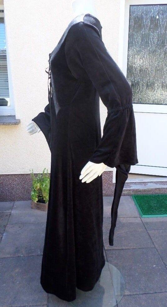 Damen Kleid Mittelalter Gothic Gothic Gothic Zipfelärmel Pannesamt schwarz Größe L Retro 65eeea