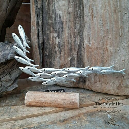 Coastal Fish Mini Silver Shoal Standing Decoration Ornament by Shoeless Joe