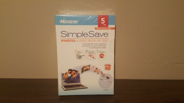 Memorex simple save photo & video back-up disc 5 pack NEW SEALED