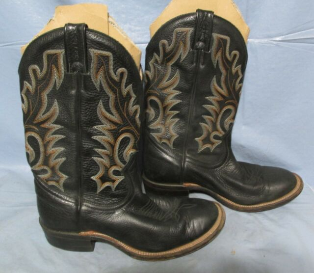 Canada Boulet Black Leather Ropers Work Cowboy Motorcycle Boots 7