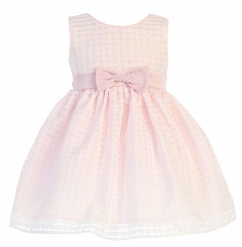 New Girls Organza Pink Dress Toddler Kids Burnout Squares Easter Wedding M732