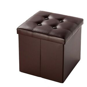 Image is loading Modern-Home-Folding-Ottoman-Storage-Box-Seat-Chest-  sc 1 st  eBay & Modern Home Folding Ottoman Storage Box Seat Chest Faux Leather Foot ...