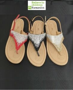 Women-039-s-Stylish-Diamante-Cushioned-Toe-front-Holiday-Summer-Sandals-Flat-HL9144