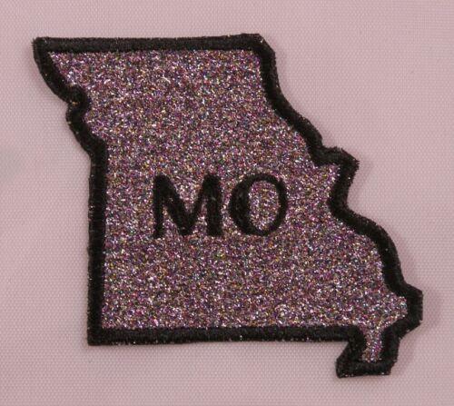 Embroidered Rainbow Glitter Missouri MO State Jacket Postal Patch Iron On USA