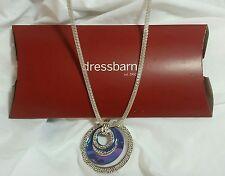 "NWT DRESSBARN 31"" Long Silver Multi-Ring Purple/Teal Pendant Necklace Dress Barn"