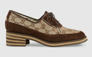 62b4335bf39 NIB Gucci Brown Thomson Suede And Canvas Mid Heel GG Logo Bee Loafer ...