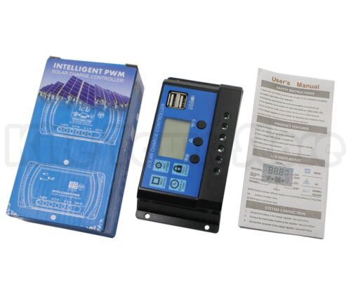 10//20//30A 12//24V LCD Display USB Solar Panel Battery Regulator Charge Controller