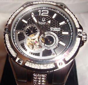 Bulova-Men-039-s-Black-Face-21-Jewels-Watch-Automatic-Water-Resistant-Gemstones