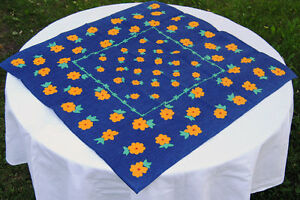 Image Is Loading Blue Tablecloth Square Linen Cotton Fabric Brand New