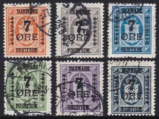 DENMARK 1926 Overprints 7 Öre Short Set 6 Values VF Used SEK 1300