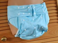 Ab 12 - Adult Baby Nappy Pants, Adjustable Size, Bn, Washable, Blue, Poppers