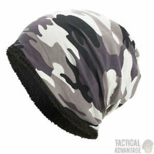 Fleece-Gefuettert-Thermo-Urban-Camouflage-Beanie-Muetze-Armee-Militaer-Airsoft-Camo-UK