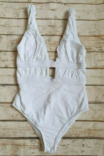 New Gathered Deep Plunge Swimsuit in White Holiday