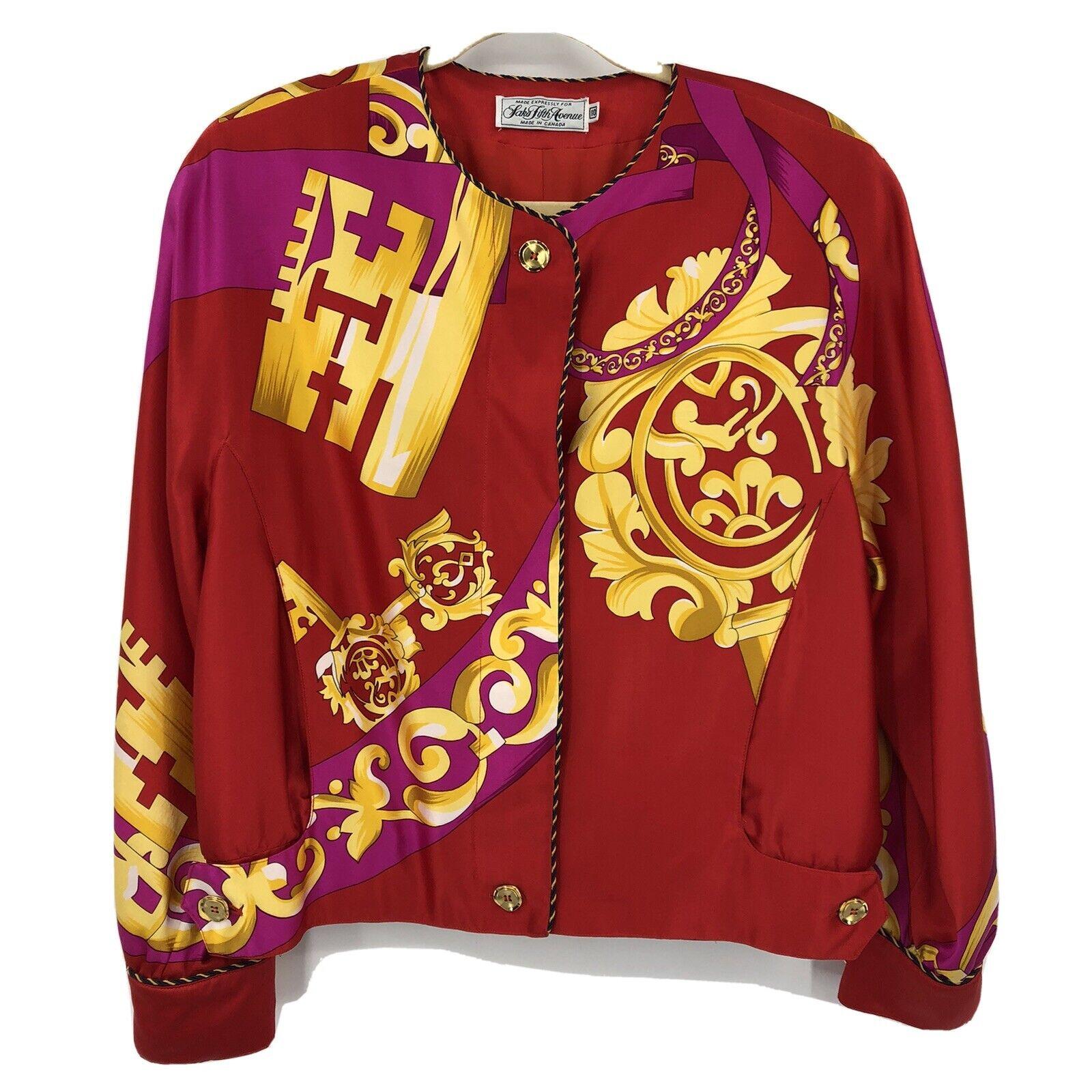 Vintage Peter Nygard Silk Bomber Jacket Red Gold … - image 1