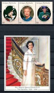 Barbuda 1996 70. Anniversaire Qe Ii La Reine Elisabeth 1852-54 Bloc 268 Neuf Sans Charnière