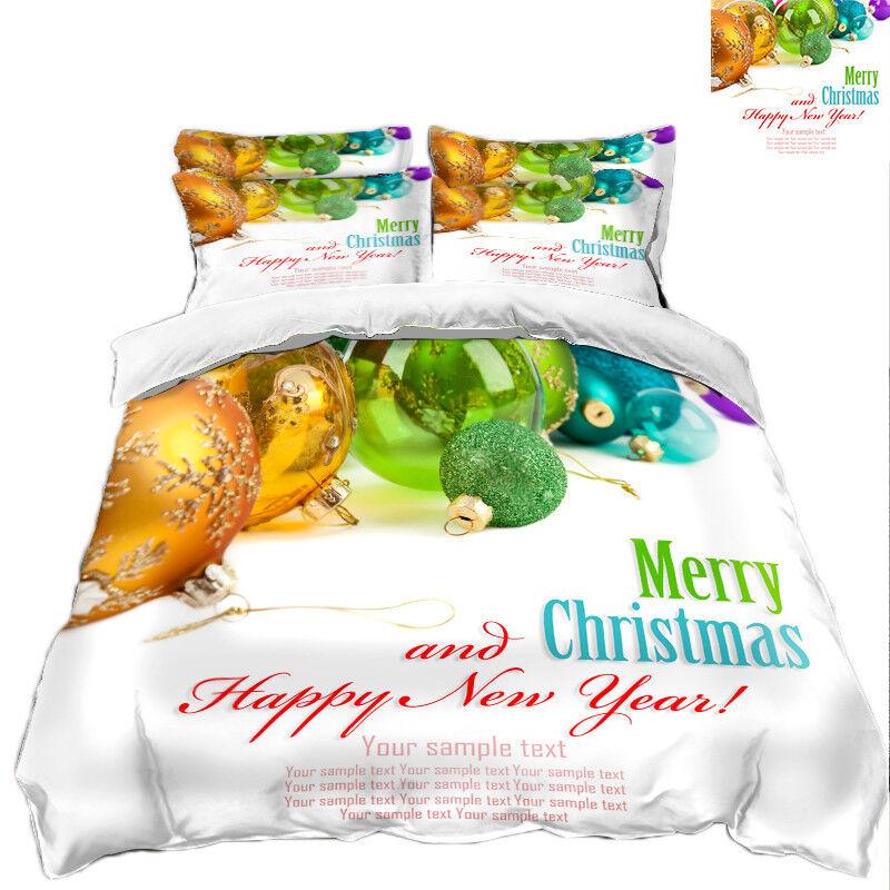 3D Christmas  Xmas 3635 Bed Pillowcases Quilt Duvet Cover Set Single Queen King