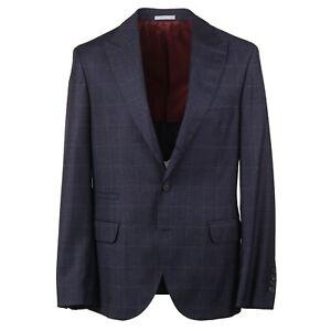 Brunello Cucinelli Slate Blue Check Soft Wool Suit with Peak Lapels 40R (Eu 50)