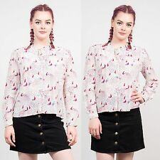 WOMENS VINTAGE PEACK PATTERN CUTE SHIRT BLOUSE FRILL COLLAR CUTE CASUAL 10
