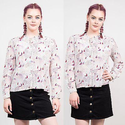 Da Donna Vintage Peack Pattern Carini Camicia Blusa Volant Colletto Carino Casual 10-mostra Il Titolo Originale Ampia Selezione;