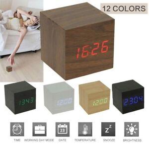 975040d5c720 New Modern Wooden Wood Digital LED Desk Alarm Clock Thermometer ...