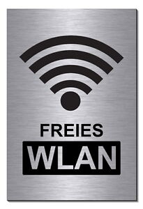 wifi freies wlan free internet alu edelstahl optik schild 15 x10cm hinweisschild ebay. Black Bedroom Furniture Sets. Home Design Ideas