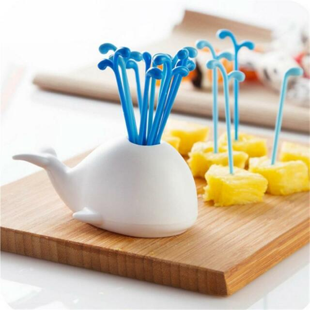 1Set Fashion Cute Whale Fruit Cake Salad Forks Home Kitchen Decoration Gadget Z