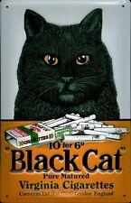 Blechschild Nostalgieschild Black Cat Cigarettes schwarze Katze Zigaretten 20x30