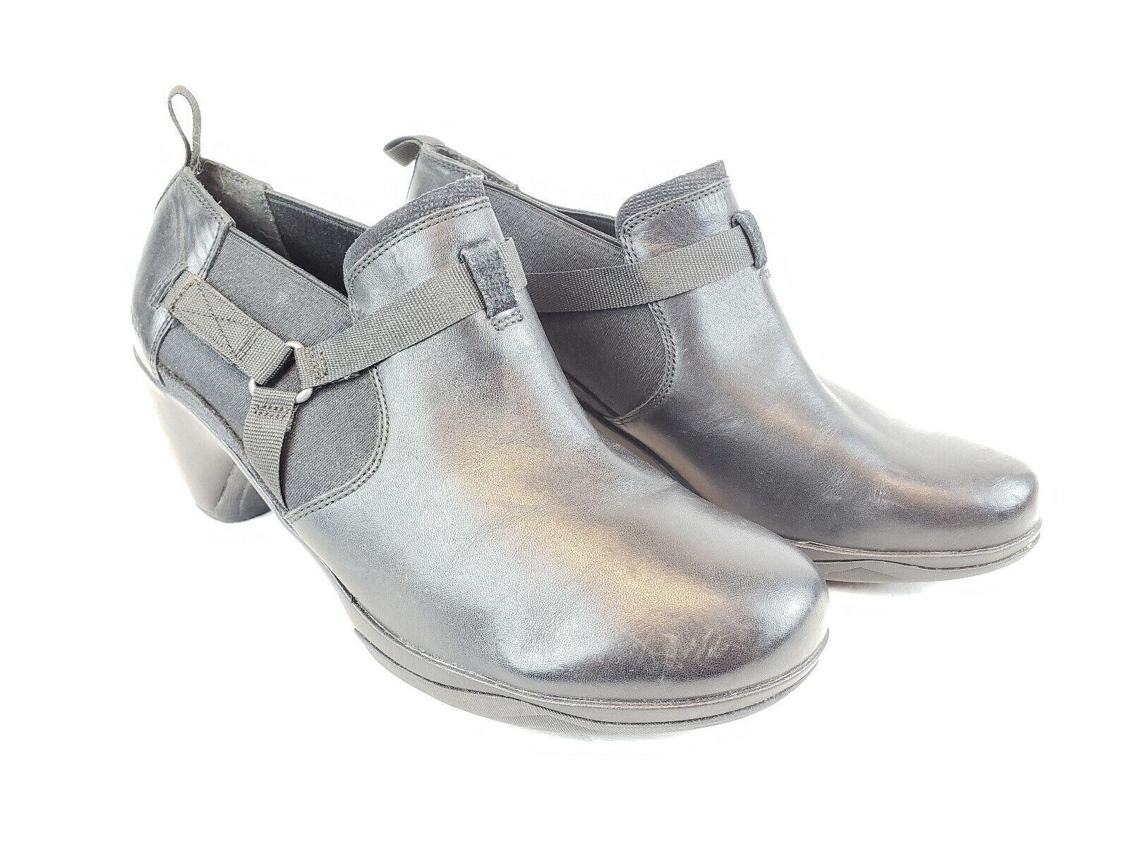 Women's Merrell Black leather wedge heel Booties Ankle Boots Sz 10