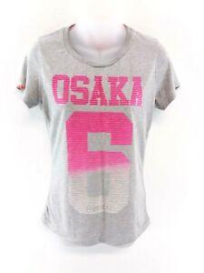 Haut-Femme-Superdry-T-shirt-homme-M-gris-moyen-rose-polyester-amp-coton
