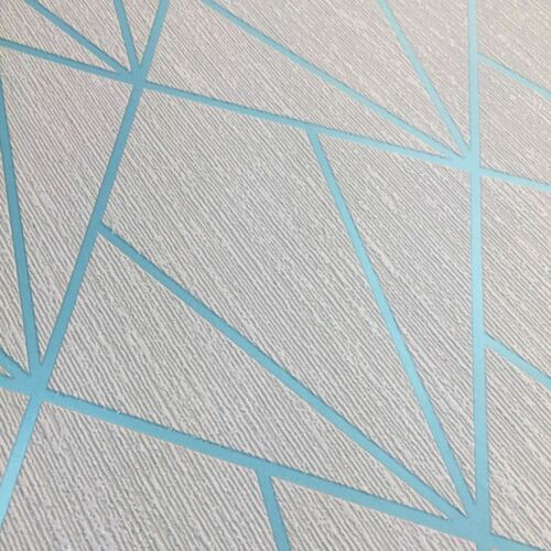 GREY INDRA GEOMETRIC WALLPAPER TURQUOISE MURIVA 154103
