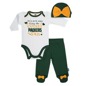 4d18b856 Details about Green Bay Packers Baby Girl 3pc Onesie Bodysuit Hat Pants,  NFL Gerber Infant